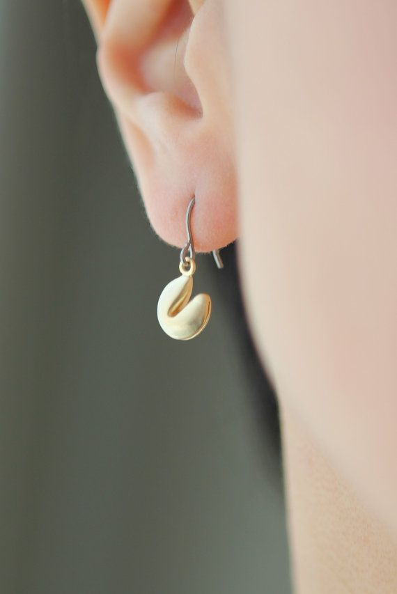 Lucky Fortune Cookie dangling on vermeil sterling by onceuponaCHO