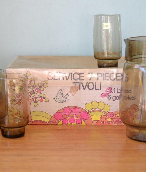 Vintage Tivoli jug  & glasses Pitcher & tumblers Luminarc France