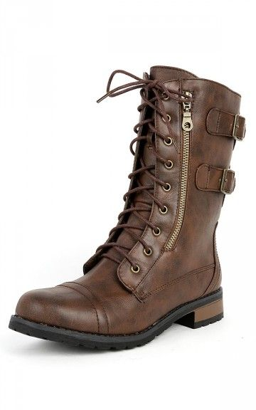Brown combat boots. (Lara Croft Cosplay)