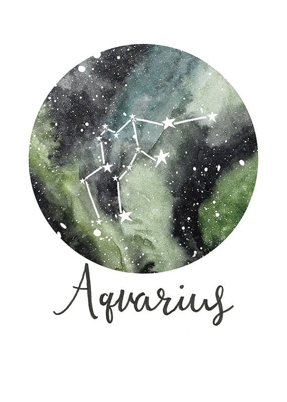 TITLE: Aquarius - Zodiac Constellations SIZE: 7x5 - Unframed art print of my original painting.  All prints are signed on the back and are carefully packed in a clear sleeve and a hard backed envelope to ensure it arrives in pristine condition. Artwork © Sarah Frances.