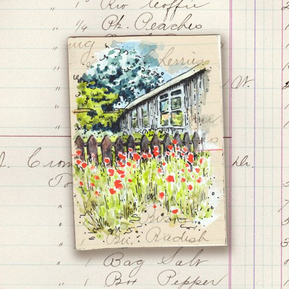 ACEO original art pen & wash watercolour red poppies garden
