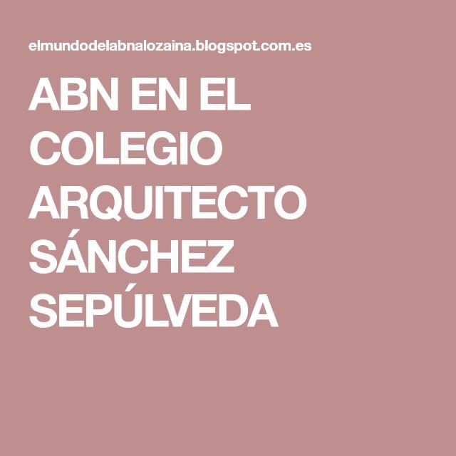 ABN EN EL COLEGIO ARQUITECTO SÁNCHEZ SEPÚLVEDA