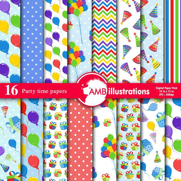 Birthday Papers, Birthday Party digital papers, balloons