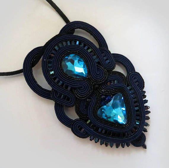 Black necklace soutache necklace navy blue Bib statement