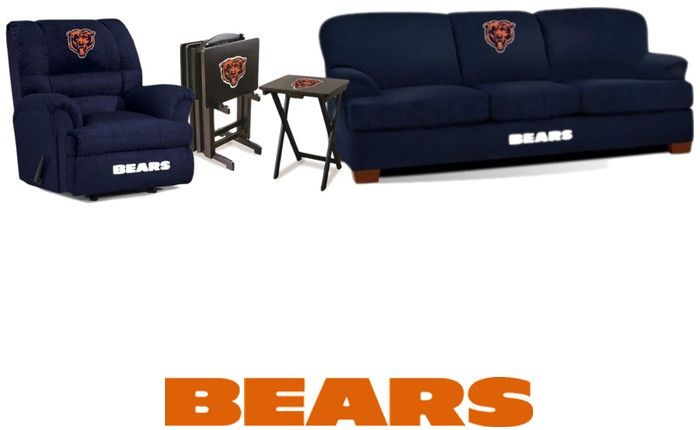 [[start tab]] Description This Chicago Bears NFL Deluxe Fan Cave Set is made especially for The Big and Tall fan. It includes the Sofa and Rocker Wall-Away Recliner, plus we added 4 Chicago Bears TV T