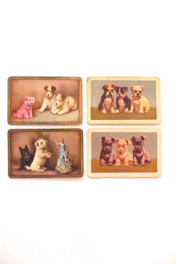 Vintage Swap Cards Dog Art Swap Cards Puppy Art Instant