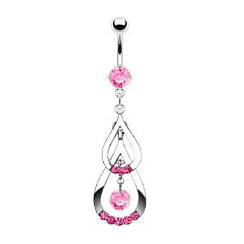 Pink Cubic Zirconia Double Drop Belly Ring $11.99