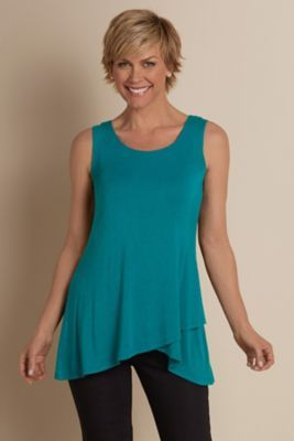 Knit Overlay Tank - High-low Hem Tank, Jersey Knit Tank | Soft Surroundings