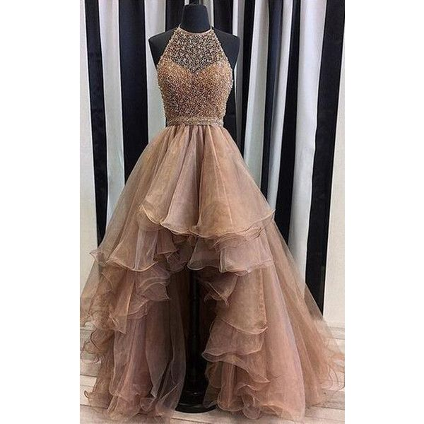Gold A Line Halter Organza Tulle Asymmetrical Beading High Low Long... (€150) ❤ liked on Polyvore featuring dresses, gold prom dress, a line cocktail dress, long cocktail dresses, halter top prom dresses and gold dresses