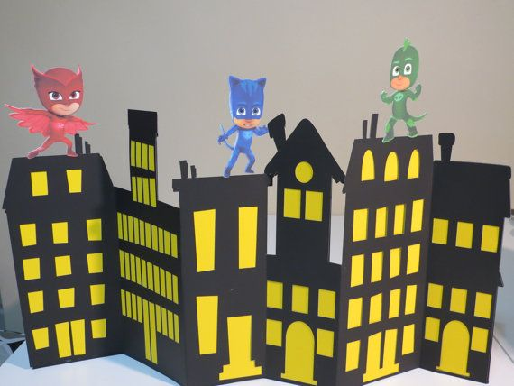 Check out this item in my Etsy shop https://www.etsy.com/listing/471308220/disney-pj-mask-inspired-center-piece