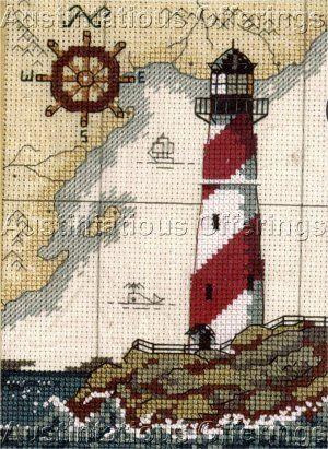 michigan great lakes lighthouses cross stitch patterns | LIGHTHOUSE SEA MAP MARITIME CROSS STITCH KIT