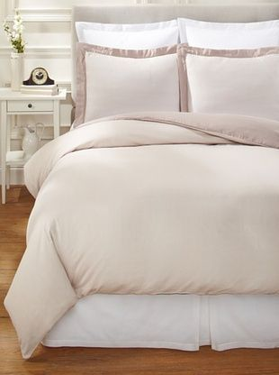 60% OFF Nine Space Viscose from Bamboo/Cotton-Blend Stripes Duvet Cover Set (Ivory)