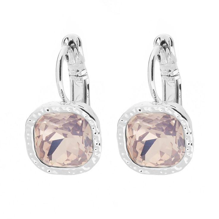 Ohrringe SILBER - hängend mit Schmuckstein in ROSA ❤ Quadratische Ohrhänger ✓ mit hochwertigem Brisurverschluss ✓ verschiedene Farben.  Jetzt ansehen!