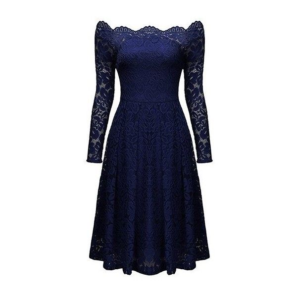 Rotita Lace Scalloped Neckline Long Sleeve High Waist Dress ($38) ❤ liked on Polyvore featuring dresses, navy blue, navy long sleeve dress, knee length lace dress, navy dresses, blue lace dress and long-sleeve maxi dresses