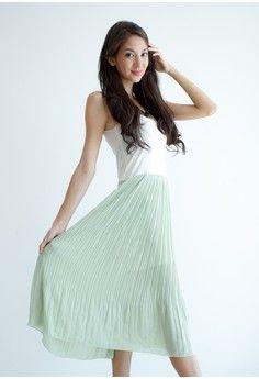 Maxi Pleat Dress - Green
