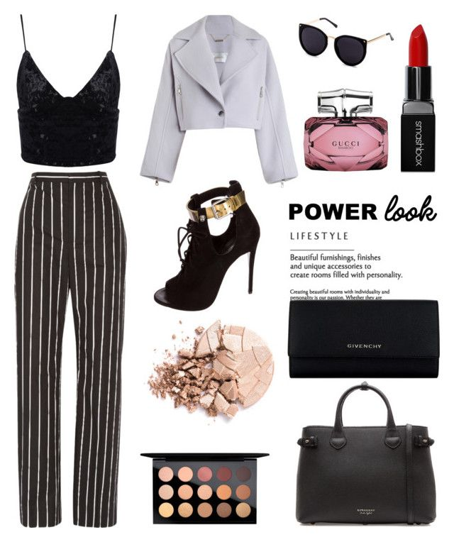 """""""Power look outfit"""" by trishsa on Polyvore featuring Balenciaga, Zimmermann, Giuseppe Zanotti, Burberry, Givenchy, Smashbox, Gucci, MAC Cosmetics and Anastasia Beverly Hills"""