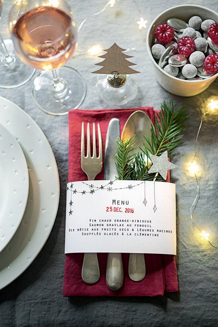 Un menu en papier pour votre table de fêtes - Christmas Table - Marie Claire Idées