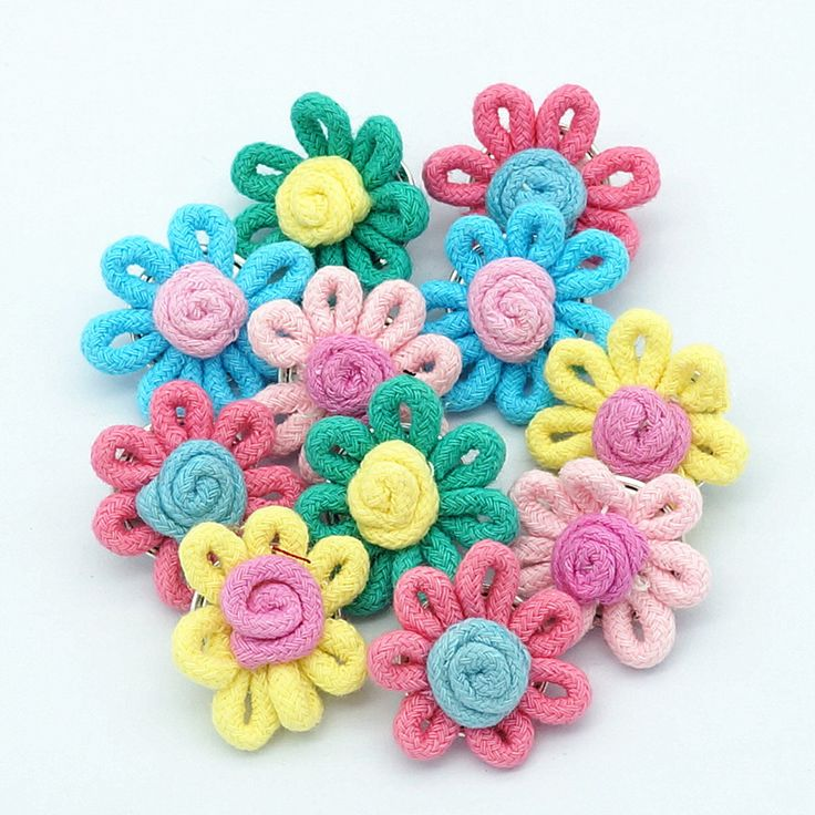 10pcs New NS0054 Beauty Colorful Handmade woolen flowers Metal 18MM snap buttons for DIY snap bracelets #Affiliate