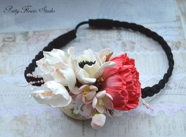 Headband with Rose, Anemone, Freesia, Hair Accessory, Flower Accessory, Hair Flower piece, Romantic, Gift, Greek style hair piece - pinned by pin4etsy.com