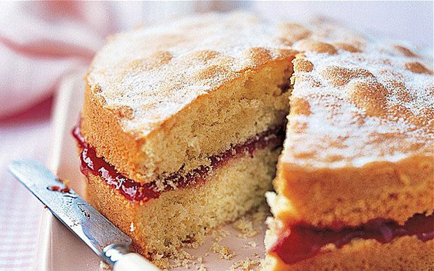 Mary Berry's classic Victoria sponge cake, filled with jam