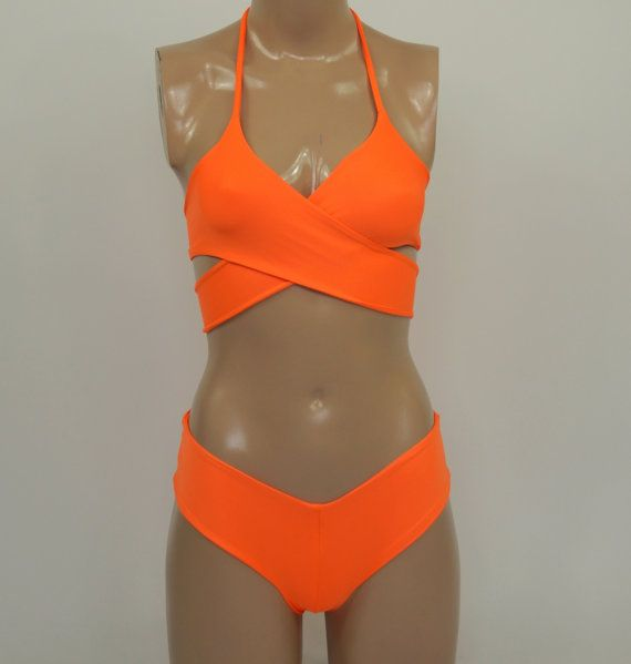 Neon orange wrap around halter bikini top matching cheeky hipster bottoms-Bathing suit-Swimwear-Swimsuit-Choose your color!! PLUS SIZE !!