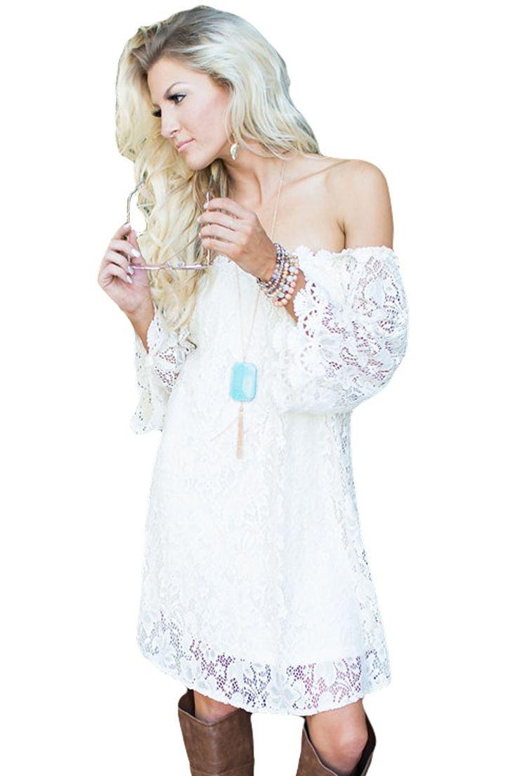 Sukienka biała koronkowa odkryte ramiona asymetryczna