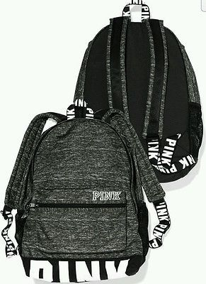 Victorias Secret PINK Campus Backpack Gray Marl Bookbag Tote NEW School Travel