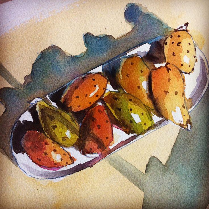 #watercolor #art #fichi d'india #fichi #prickly pears #pricklypears