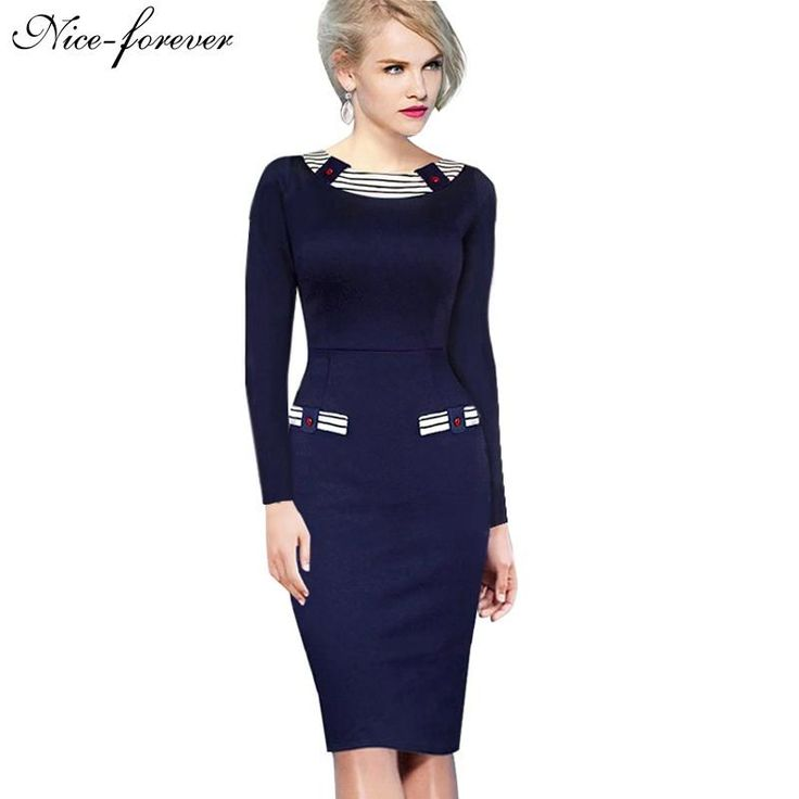 European Stylish Women Office Formal Business Plus Size Elegant Bodycon Dress $29.02   => Save up to 60% and Free Shipping => Order Now! #fashion #woman #shop #diy  http://www.yiclothes.net/product/nice-forever-vintage-button-navy-fitted-dress-european-stylish-women-office-formal-business-plus-size-elegant-bodycon-dress-b214/