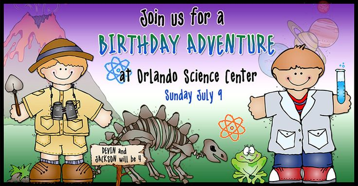 Celebrate your science birthday party with a whimsical and CUTE invitation!  This was made by Alix using our 'Kidoodlez Science & Math' clip art collection.    science, dino, dinosaur, frog, planets, volcano, clipart, kids, learning, school, Orlando science center