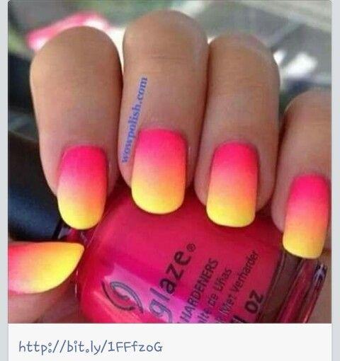 Paznokcie, ombre, neon, nails