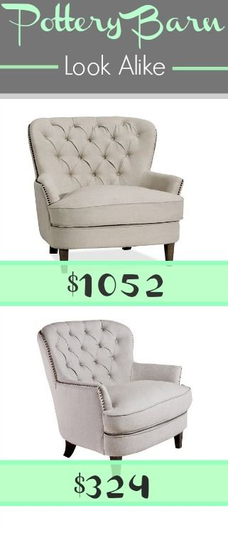 The Pottery Barn Cardiff Tufted Upholstered Chair is 69% off with this look alike from Amazon.
