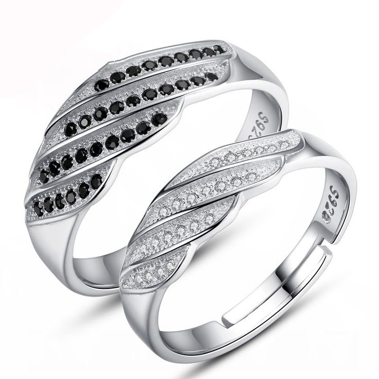 Black & White CZ 925 Silver Ajustable Couple Rings