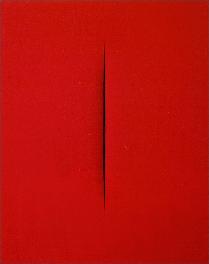 Lucio Fontana · Concetto spaziale, Attesa · 1965 · Coll. privata · Roma #art #modern #povera #Spatialism #Italy