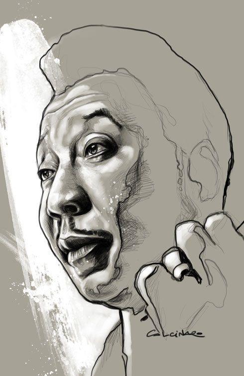 figuratief vereenvoudigd portret, hierbij heeft de tekenaar dingen weggelaten waardoor de tekening er heel eenvoudig uitziet