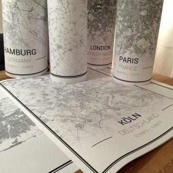 Many cities, many maps - order your favorite city and bring it into your home // Viele Städte, viele Karten - bestelle deine Lieblingsstadt und bringe sie zur dir nach Hause