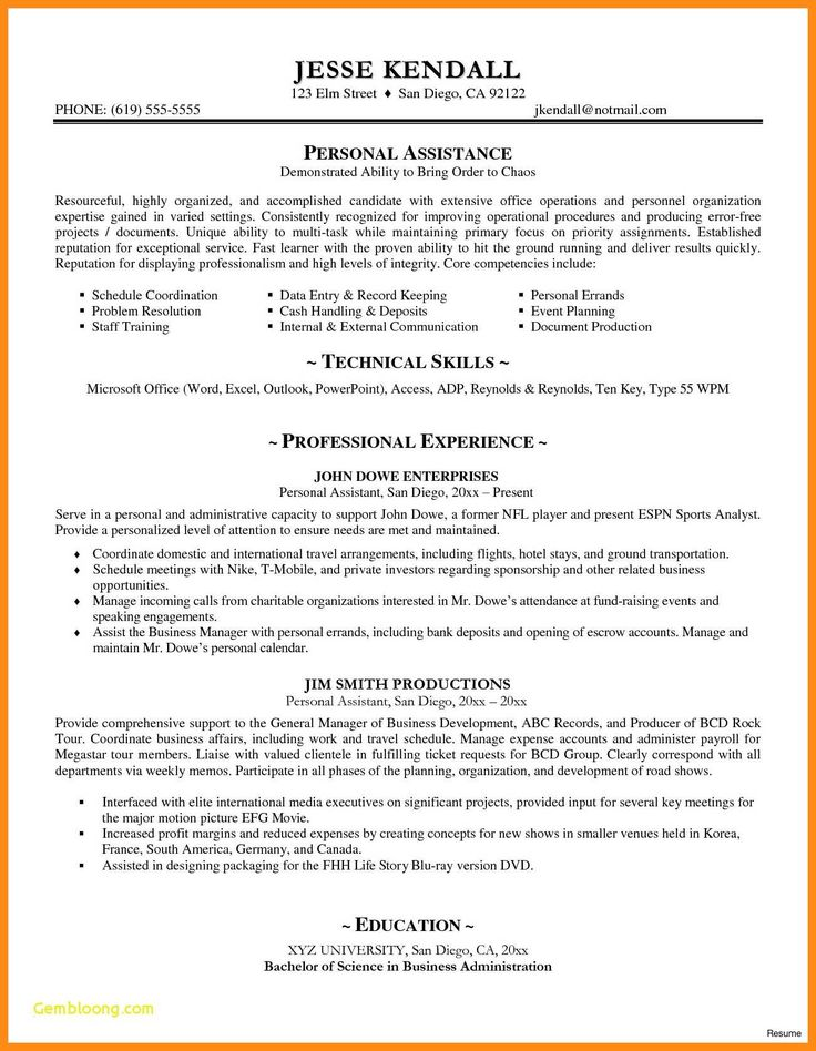 Business administration resume samples inspirational 10 11