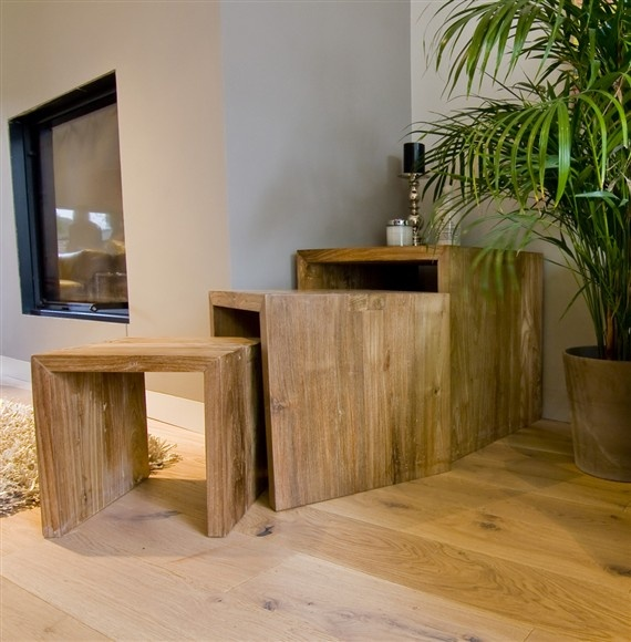 The 'Mawun' Nest – beautiful and unique, solid wood nest of tables made from 100% eco-friendly solid reclaimed teak.