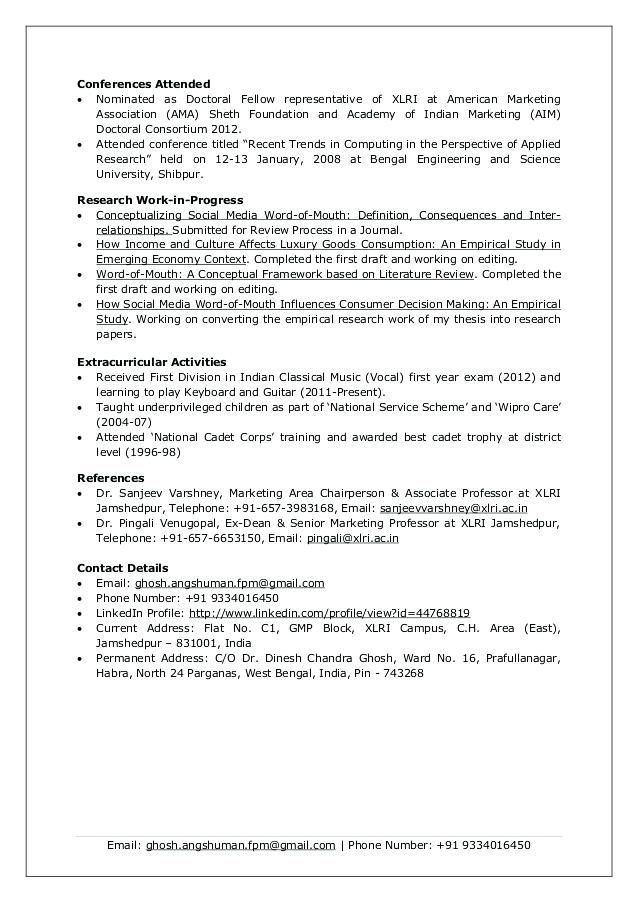 Xlri Resume Format Resume Templates