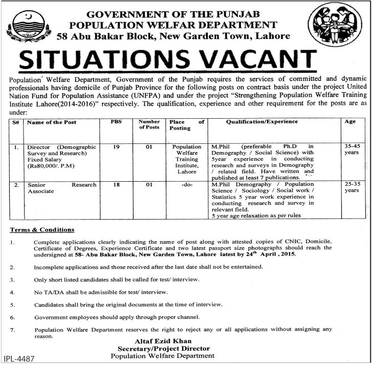 Punjab Government Population Department Lahore Jobs Director