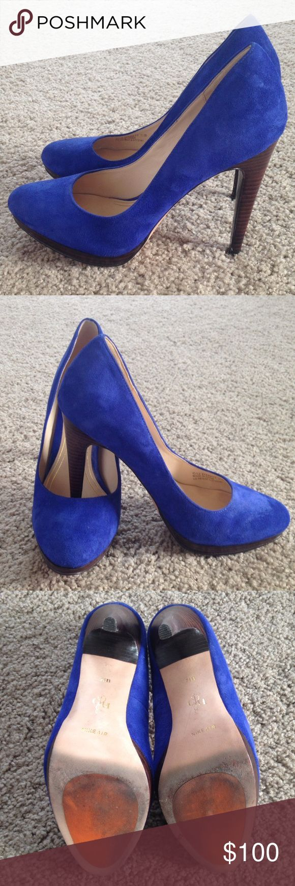 Cole Haan Blue Suede Pumps These are beautiful!!! Cole Haan blue suede pumps with NikeAir technology!!! Only worn ONCE!! You can see signs of this on the bottom, otherwise in like New condition!! Cole Haan Shoes Heels