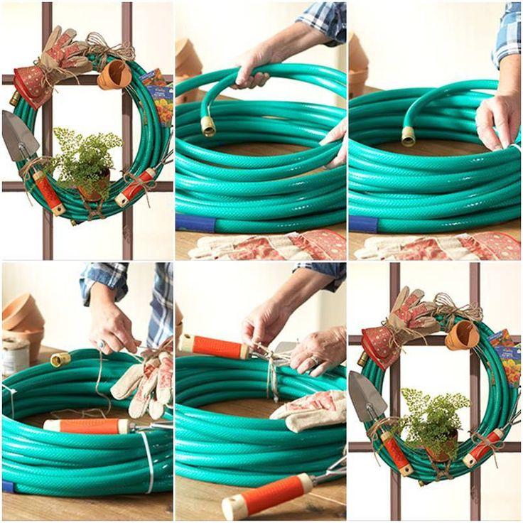 1000 ideas about garden hose wreath on pinterest for Garden hose idea