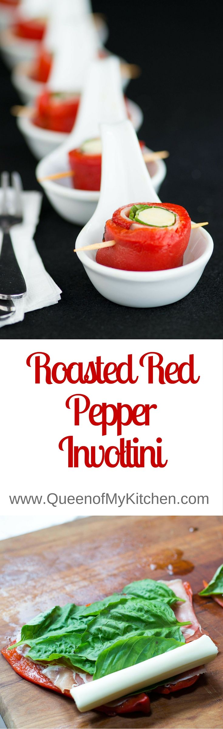 Roasted Red Pepper Involtini – a no cook appetizer that's delicious, easy, elegant, colorful, gluten-free, and low in calories. Great on antipasto platters.