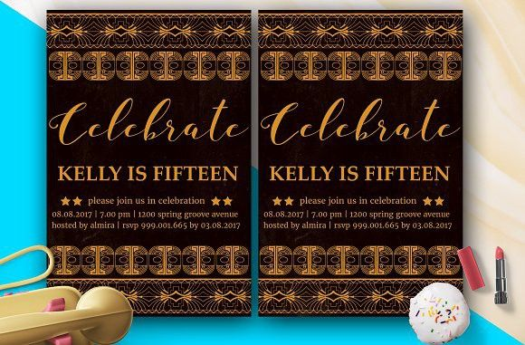 ArtDeco Birthday Invitation. Card Design Templates