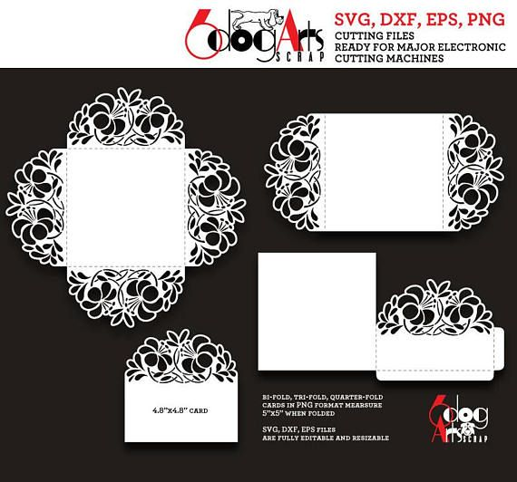 345 best tarjetas images on pinterest invitations card patterns 4 flat quarter fold tri fold floral lace card templates vector digital cut and printing files to use for your crafting projects pronofoot35fo Images