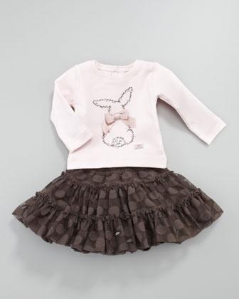 Lalie Cardigan, Lelapin Bunny Tee & Lila Dot Skirt by Lili Gaufrette at Neiman Marcus.