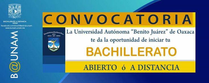 """Recuerden que se encuentra abierta la convocatoria para ingresar al Bachillerato a Distancia, de la Universidad Autónoma """"Benito Juárez"""" de Oaxaca.  Les dejamos la página para que preparen documentación y se registren: http://www.admision.uabjo.mx/ems/docs/convoca_adistancia.pdf  Compartamos y acerquemos la información  #B_UNAM #DondeSeConstruyeElFuturo #UABJO"""