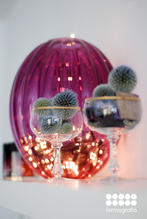thistle balls and vase that's temporarlily a lamp