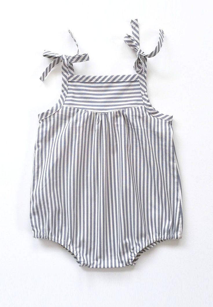 Handmade Vintage Style Stiped Baby Romper | SwallowsReturn on Etsy
