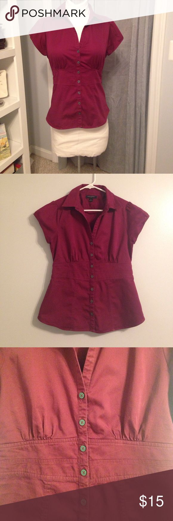 Banana Republic Burgundy Top Striking burgundy cap-sleeved cotton/spandex button -down top.  Perfect condition, cool, comfy and and ready to go for summer! Banana Republic Tops Button Down Shirts